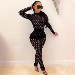 Hollow Out Skinny Two Piece Sets Women Mock Neck Top And Pants Tie Dye Bodycon Sexy Matching Set 2021 Fall Winter Suits