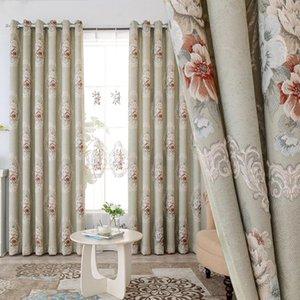 Sala de estar de estilo nórdico de alta gama Sala de estar en relieve Cortinas bordadas en relieve Atmósfera de lujo Villa Chenille Jacquard tela de cortina