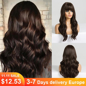 Long Dark Brown Women's Wigs with Bangs Water Wave Heat Resistant Synthetic Wigs for Black Women African American Hair