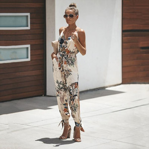 2019 Summer Women Casual Sleeveless V Neck Jumpsuits Fashion Ladies Boho Floral Bodysuit Wide Leg Loose Long Pants Trousers