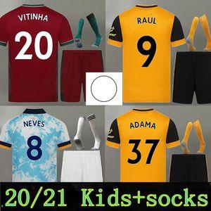 2020 2021 Wolves Soccer Jersey 20 21 Neves Raul Adama Diogo J. Coady Neto Podence Doherty Boly J.otto Casa Away 3rd Kid Kit Camicie da calcio0