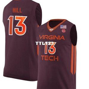 Hombres de edad VA TECH HOKIES AHMED HILL # 13 Baloncesto Tamaño de bordado completo S-4XL o personalizado Cualquier nombre o número de Jersey
