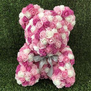 Cumpleaños Multicolor Teddy Rose Flores Regalo Rose Fiesta Día San Valentín Oso Oso Decoración Oso Espuma Plástico Resorte Artificial DHE3022