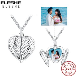 ELESHE 925 Sterling Silver Angel Wing Necklace Pendant for Women Long Chain Necklaces Personalized Custom Photo Heart Jewelry J1202