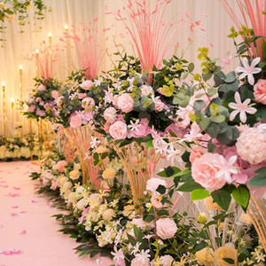 45 cm Peacock leaf peony hydrangea artificial flower ball bouquet dedor wedding party backdrop road guide table centerpiece 1pc
