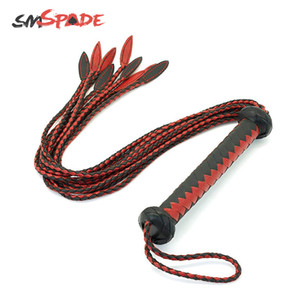 SMSPADE Black and Red handcraft Braided Bondage Boutique Leather Flogger Riding Horse Flirting Whip Spanking BDSM Adult Sex Toys Y201118