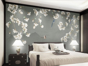 Chinese 3d customized wallpaper retro hand-painted flower and bird magnolia wallpapers sofa background wall decoration painting