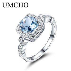 UMCHO Real S925 Anillos de plata esterlina para mujeres Azul Topaz Ring Precioso Piedra Aquamarine Besos Besos románticos Pequeño compromiso Joyería