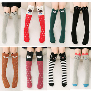 New Children Medium Tube Socks Cotton Straight Board Three-dimensional Ears Cat Cartoon Girls Knee Socks Baby Socks lababy68