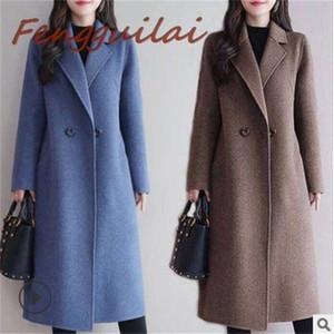 Fengguilai Lange Slim Oberbekleidung 2020 Frauen Mantel Wollmantel Herbst Winter Blau Rot Kameljacke Revers Kragen Button Mantel Y1126
