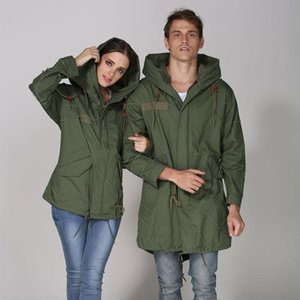 Khaki Autumn Long Jacket Polyster Lined Streetwear Design Long Sleeve Jacket With Hood or Short