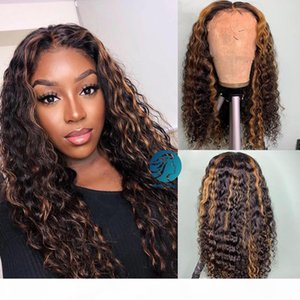 Wet and Wavy 13X6 Pre plucked Honey Blonde Lace Front Wigs Highlight Brown Ombre Human Hair Wig Preplucked Brazilian Women Lace Front