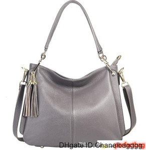 High Quality Brand new genuine leather real calfskin women top handle hobo luxury tassel handbag shoulder bag tote purse y10