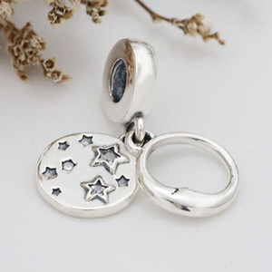 2020 New 925 Sterling Silver Sleeping Moon and Stars Dangle Charm Bead Fits European Pandora Jewelry Bracelets & Necklaces