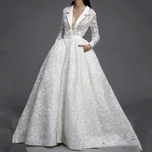 Gorgeous White Full Lace Wedding Dresses With Pockets New 2021 Illusion Top Long Sleeves Deep V Neck Formal Bridal Gowns Wedding Dress