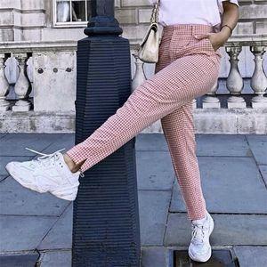Klacwaya moda donna rosa plaid pantaloni lunghi per ufficio signore eleganti pantaloni dritti ragazze street-wear slim pantalon femme y200114