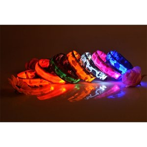 mix color pet camouflage flexible LED lamp collar with 3 size strip style flash light leash for dog cat Z1127