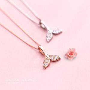 Silver Necklace Pendant Korean Style Fresh Diamond Mermaid Tail Pendant Elegant Cute Clavicle Chain