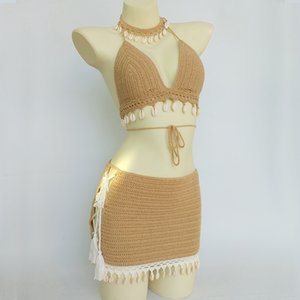 3pcs Set Woman Crochet Shell Tassel Bikini Top and Seashell Ankle Chain Sexy Beach Lace See Through Slim Mini Skirt