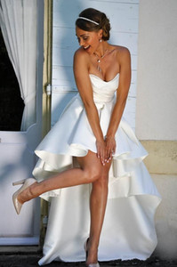 High Low Boho Wedding Dresses 2021 Strapless Lace Up Back Modest A Line Beach Bridal Gowns Cheap