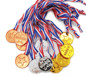 Gold Silver Bronze Award Medals with Ribbon Plastic Winner Medals for Kids Children's Events Classrooms School Games and Sports