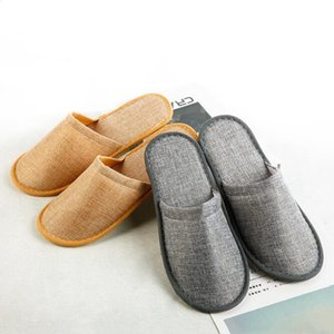 Disposable Slippers Hotel SPA Home Guest Shoes Yellow Grey Comfortable Anti-slip Slippers Breathable Soft Cotton Linen Disposable FWC4049