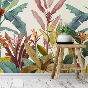 Bacal Dusty Pink and Teal Vintage Tropical Minimalist 3D Wallpaper Mural Home Decor