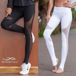 Mermaid Curve Women Sport Fitness Leggings Elastic Gym Capris hollow out Tight Leggings Coast the same style Yoga pants X1227
