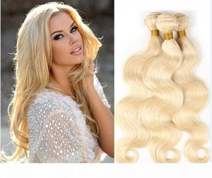 Brazilian Body Wave Human Hair Weaves 613 Blonde Two Tone Color Full Head 3pcs lot Double Wefts Remy Hair Extensions