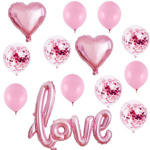 Romantische Latexballons herzförmige Liebesfolie-Ballon für Valentinstag-Hochzeit Geburtstags-Dekorationen Kit JK2101KD