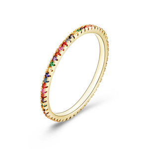 High Quality 14K Gold Plated 925 Sterling Silver Jewelry Rainbow Cubic Zirconia Multi Color CZ Women's Engagement Wedding Ring