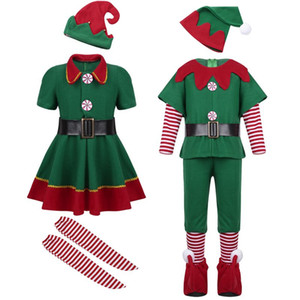 Christmas Special Occasions Costumi Cosplay per bambini Boy Girls Elf Grinch Dress Capodanno Natale Carnevale Party Santa Claus con il regalo del cappello