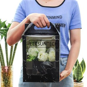 100Pcs Lot 19x19x30cm Transparent Window Flower Gift Box, Valentine's Day Flower Packing Box, Paper Handbag Wholesale