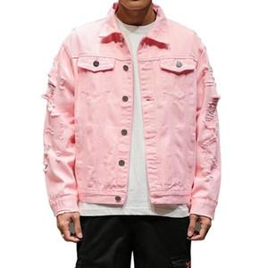 Vestes pour hommes Rouge blanc noir rose longueur courte longueur déchirée denim hommes mode décontracté coton jean manteaux hip hop streetwear 4xl 5xl