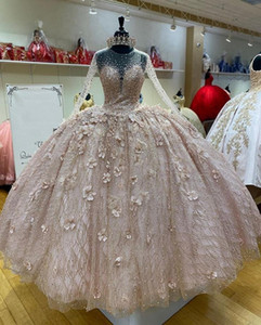 Champagne Long Sleeves Ball Gown Quinceanera Dresses Sheer Neck Sparkly Beads Sweet 16 Dress vestido de 15 anos Prom Party Gowns