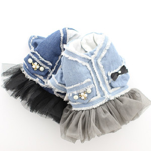 Warm Winter Dog Dress Coat Flannel Denim Top Princess Dog Jacket Clothes for Small Dogs Tulle XS S M L XL