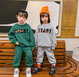 Fashion new kids letter printed outfits 2021 spring boys girls long sleeve sweatshirt+casual pants 2pcs designer kids clothes A5448