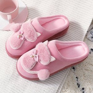 Women Winter Warm Plush Slippers Ladies Indoor Home Cotton Cute cat Female Flat Shoes Shollow Thick Heels Pointed Toe Q1125