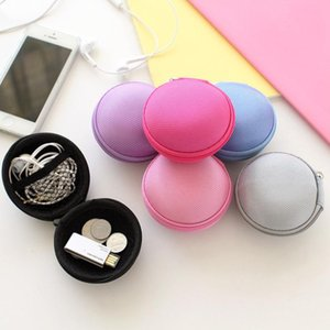 Mini Zipper Protective Headphone Case Pouch Earphone Storage Bag Soft Headset Earbuds Box USB Cable Organizer Coin Purse Round