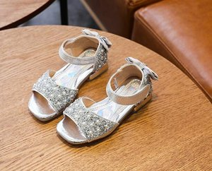 Leather Sandals Summer Baby Girls Cute Bling Sequin Princess Sandals Shoes Toddler Infant Kids Sneakers Shoes for Beach Sandals