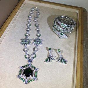 Brand Fine Custom Jewelry For Women Fan Wedding Green Crystal Party Jewelry Set Big Design Party Banquet Neckacle Earrings Set