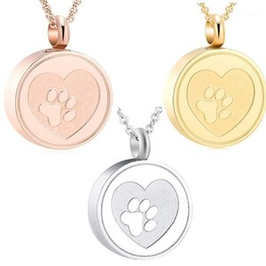 Free Engrave Pet Print Heart Stainless Steel Cremation Urn Locket Necklace Hold Dog Cat Ashes Casket Keepsake Jewelry1