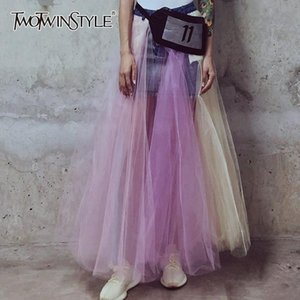 TWOTWINSTYLE Hit Color Patchwork Mesh Skirt For Women High Waist Casual Ball Gown Skirts Female 2020 Summer Fashion Clothing New