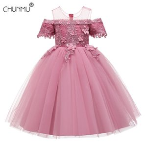 New Year Dress Girls Party Wedding Lace Embroidery Princess Dresses for Girls Long Formal Prom Dress Girls Costume F1130