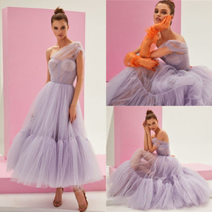 New Light Purple Prom Dresses One Shoulder Tulle Ankle Length Cheap Evening Gowns Custom Made Cocktail Dress