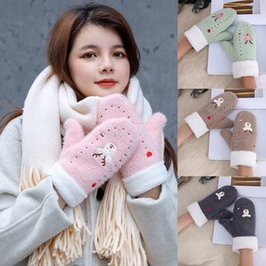 Luxury-Female Cute Embroidery Cartoons Elk Full Fingers Gloves Women Winter Plus Thick Velvet Cashmere Plush Wool Knit Warm Mittens