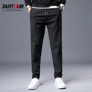 Jantour Black Pants Men Autumn Winter Business Casual Pencil Pants Fashion Simplicity Vaqueros Hombre Work Size 36 38