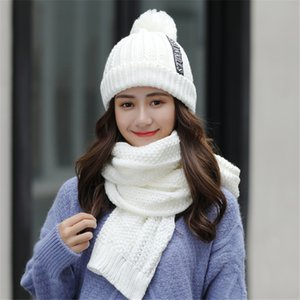New Winter Woollen Hats for Women Thick Warm Woven Beangrass Hats with Scarves Fashion Cycling Bonnet Caps Sets