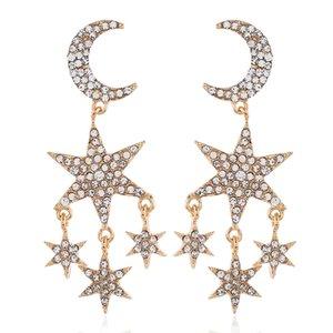 Moda Criativo Exagerando Brincos Com Diamantes Estrela e Lua Pingente Longo Tassel Auricular Brinco Acessórios Das Mulheres