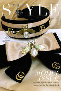Velvet bow little bee Headband lady wild wide side middle knotted hairpin hair wash face headdress letter headband